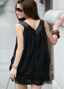 Платье-туника  с V-образным вырезом