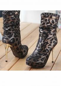 Удлиненные леопардовые ботильоны