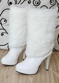 Сапоги на каблуке с меховым голенищем