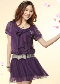 Шифоновое платье с бантом