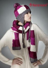 Разноцветная вязанная шапка