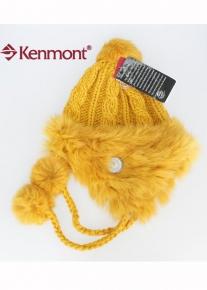 Узорно вязаная шапка с окантовкой из меха