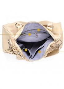 Бежевая сумка с пайетками под узорным кроем