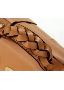 Кожаная сумка портфель с ручной косичкой