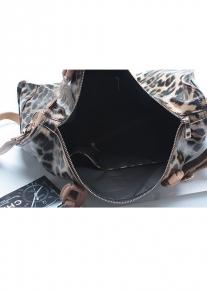Кожаная леопардовая сумка саквояж