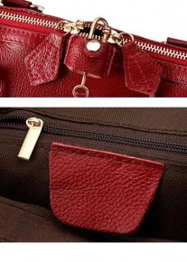 Кожаная сумка с замочком на двойной молнии