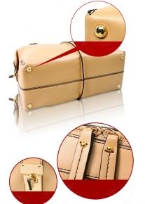 Удобная кожаная сумка с контрастными стежками