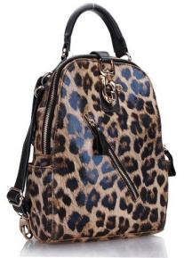 Леопардовая сумка рюкзак из натуральной кожи