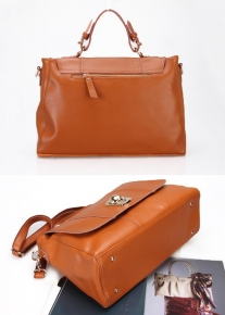 Кожаная сумка портфель декорированная шариком