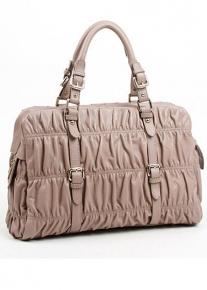 Стеганная гофрированная сумка из натуральной кожи
