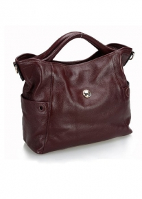 Кожаная сумка с боковыми кармашками