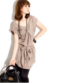 Кофейное платье-туника