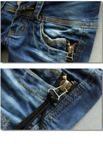 Эффектно декорированные узкие джинсы