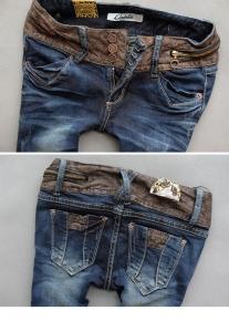 Эффектные джинсы с поясом под рептилию