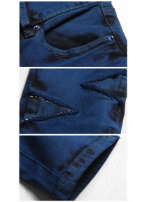 Геометрически декорированные джинсы со стразами
