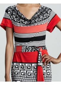 Длинное платье с орнаментом и в полоску Emilio Pucci