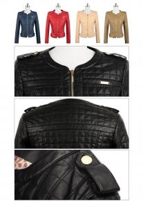 Стеганная куртка с округлым вырезом