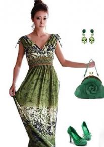 Зеленый сарафан в греческом стиле
