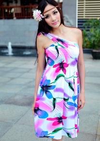 Сарафан с яркими неоновыми цветками