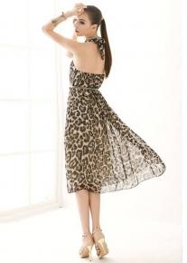 Леопардовый сарафан с открытой спиной