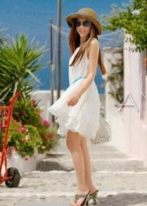 Короткое гофрированное платье