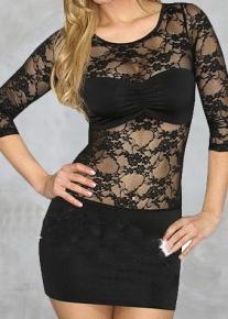 Модное клубное платье с гипюром
