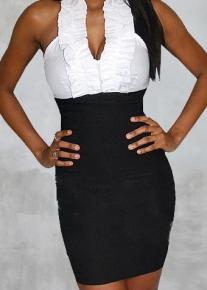 Черно-белое платье с лямкой-оборочкой через шею