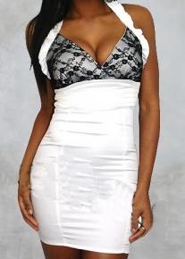 Черно-белое платье с гипюровым лифом