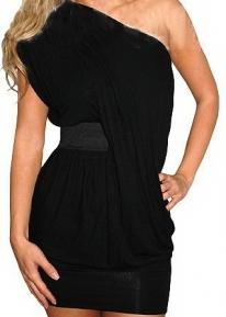Оригинальное черное платье на одно плечо