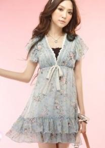 Шифоновое платье с кружевом