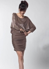 Блестящее кофейное платье
