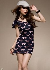 Платье на одно плечико с бантиком
