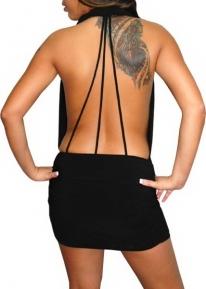 Платье с фронтальной молнией и шнуровкой на спине