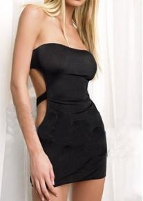 Черное мини платье без бретелей