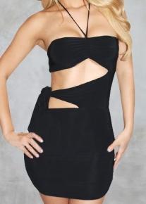 Полуоткрытое платье с эффектной лямкой-завязкой на боку