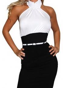 Черно-белое платье с ошейником а-ля жабо и контрастным поясом