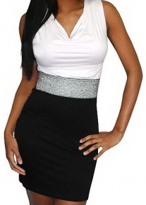 Элегантное платье с белым верхом