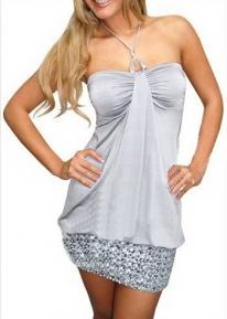 Серебристое платье - баллон с блестящими пайетками