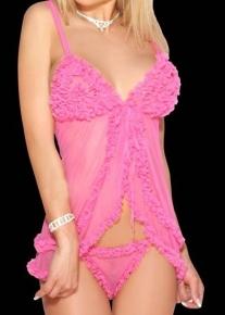Сексуальный розовый пеньюар с оборками