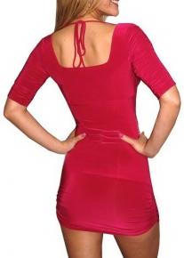 Красное платье с бретельками и с эффектом болеро