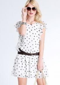 Воздушное летнее платье в горошек  и с оборочками