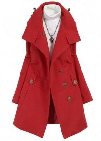Пальто со стоячим воротником и оригинальными элементами