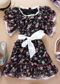 Шифоновое платье с бантом на талии