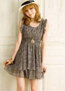Шифоновое леопардовое платье  на резинке
