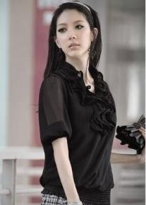 Шифоновая блузка с воланами