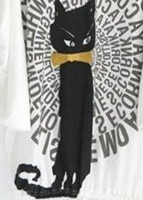 Фактурная туника свободного кроя с котом