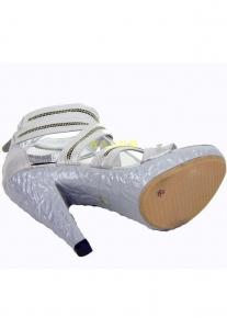 Босоножки с ремешками под молнию и с фактурным каблуком