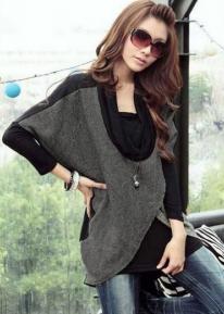 Удлиненный свитер с запахами и воротником