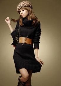 Платье - туника с широким воротником