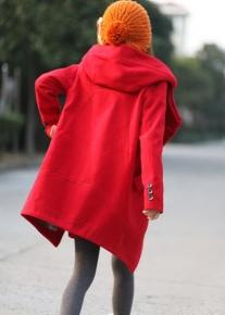 Пальто со стоячим воротником переходящим в капюшон